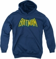 DC Comics youth teen hoodie Classic Batman Logo navy