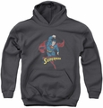 DC Comics youth teen hoodie Desaturated Superman charcoal