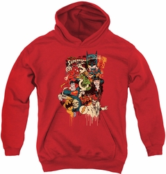 DC Comics youth teen hoodie Dripping Characters red