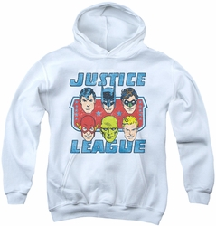 DC Comics youth teen hoodie Faces Of Justice white