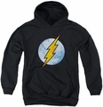DC Comics youth teen hoodie Flash Neon Distress Logo black