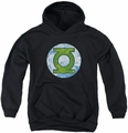DC Comics youth teen hoodie Green Lantern Neon Distress Logo black