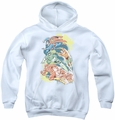 DC Comics youth teen hoodie Halftone League white