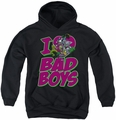 DC Comics youth teen hoodie I Heart Bad Boys black