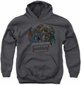 DC Comics youth teen hoodie Join The Justice League charcoal