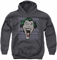 DC Comics youth teen hoodie Joker Dastardly Merriment charcoal