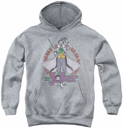 DC Comics youth teen hoodie Joker Maniacal athletic heather