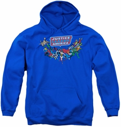 DC Comics youth teen hoodie Justice League Here They Come royal blue
