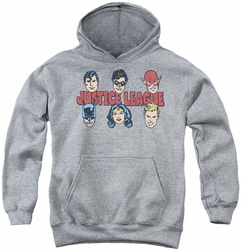 DC Comics youth teen hoodie Justice Lineup athletic heather