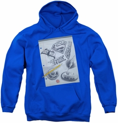 DC Comics youth teen hoodie Logo Note Paper royal blue
