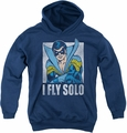 DC Comics youth teen hoodie Nightwing Fly Solo navy