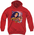 DC Comics youth teen hoodie Pop Art Wonder Woman red