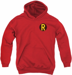 DC Comics youth teen hoodie Robin Logo red