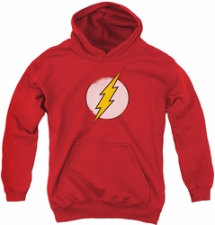 DC Comics youth teen hoodie Rough Flash Logo red