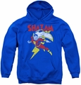 DC Comics youth teen hoodie Shazam Let's Fly royal blue