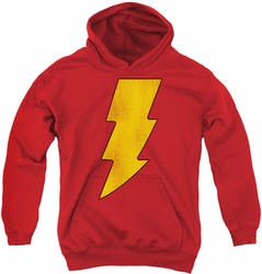 DC Comics youth teen hoodie Shazam Logo Distressed red