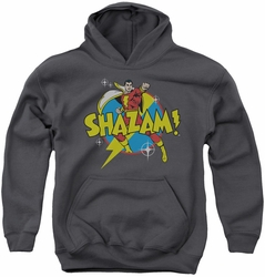 DC Comics youth teen hoodie Shazam Power Bolt charcoal