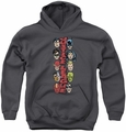 DC Comics youth teen hoodie Stacked Justice charcoal