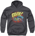 DC Comics youth teen hoodie Superman Batman Bam charcoal