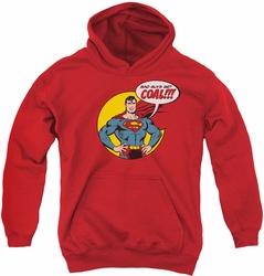 DC Comics youth teen hoodie Superman Coal red