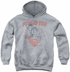 DC Comics youth teen hoodie Superman Fooled You athletic heather