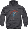 DC Comics youth teen hoodie Superman Hardened Heart charcoal