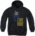 DC Comics youth teen hoodie Superman I Love Nerds black