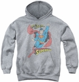DC Comics youth teen hoodie Superman On The Job athletic heather