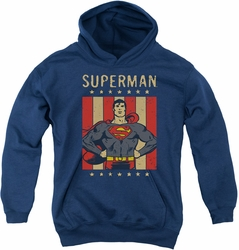 DC Comics youth teen hoodie Superman Retro Liberty navy