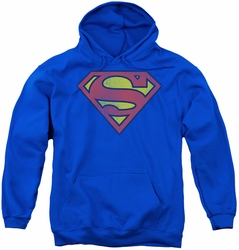 DC Comics youth teen hoodie Superman Retro Supes Logo Distressed royal blue