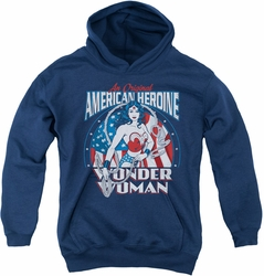 DC Comics youth teen hoodie Wonder Woman American Heroine navy