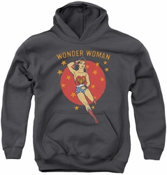 DC Comics youth teen hoodie Wonder Woman Circle charcoal