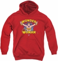DC Comics youth teen hoodie Wonder Woman Flying Through red