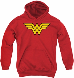 DC Comics youth teen hoodie Wonder Woman Logo red