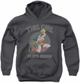 DC Comics youth teen hoodie Wonder Woman  Plays Rough charcoal