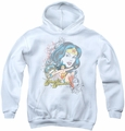 DC Comics youth teen hoodie Wonder Woman Scroll white