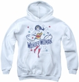 DC Comics youth teen hoodie Wonder Woman Stars white