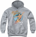 DC Comics youth teen hoodie Wonder Woman Vintage athletic heather