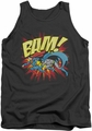 DC Universe tank top Batman Superman Bam mens charcoal