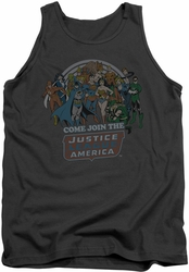DC Universe tank top Join The Justice League mens charcoal