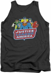 DC Universe tank top Justice League 8 Bit League mens charcoal