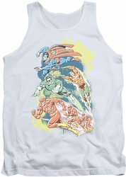DC Universe tank top Justice League Halftone League mens white