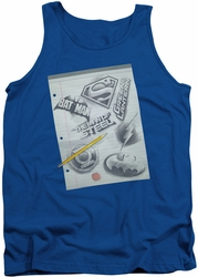 DC Universe tank top Justice League Logo Note Paper mens royal
