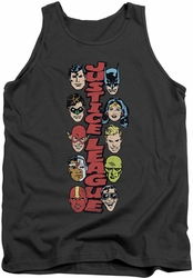 DC Universe tank top Justice League Stacked Justice mens charcoal