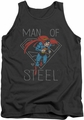 DC Universe tank top Superman Man of Steel Hardened Heart mens charcoal