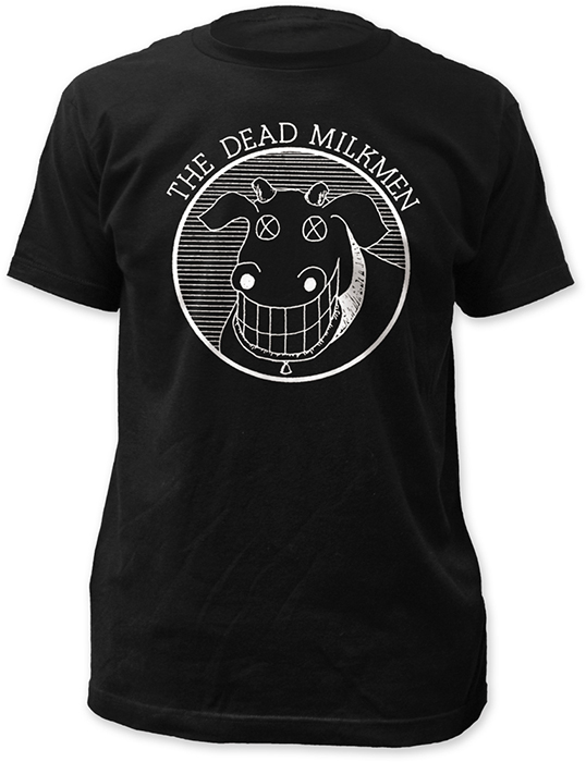 Dead milkmen cow logo adult t shirt black at urban collector for Order shirts with logo