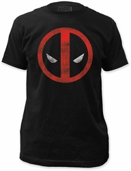 Deadpool fitted jersey tee distressed logo mens black