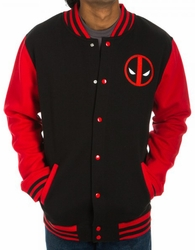 Deadpool letterman fleece jacket Logo mens black