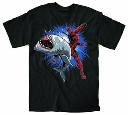 Deadpool Shark Punch Black T-Shirt