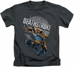 Deathstroke kids t-shirt Retro charcoal